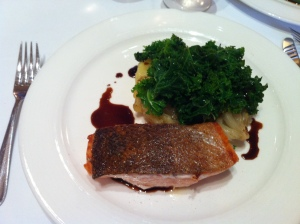 Salmon, potatoes and kale