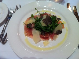 Parma ham, parmesan, rocket and truffle