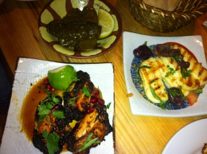 Stuffed vine leaves, chicken wings, haloumi