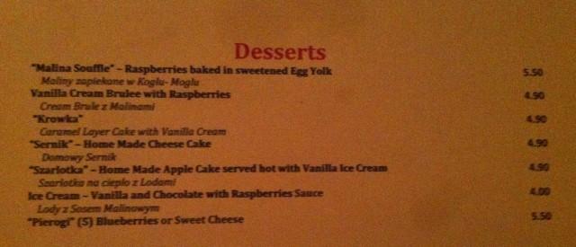 "Dessert Menu - note ""sweet"" Pierogi. Not on my watch."