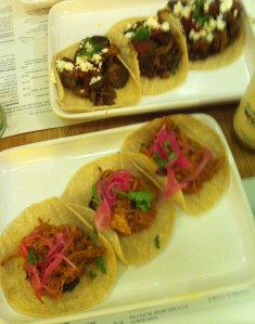 Pork Pibil and Winter Vegetable tacos. Little parcels of orgasm.