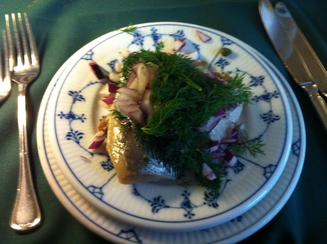 The pickled herring was virtually caramelised.