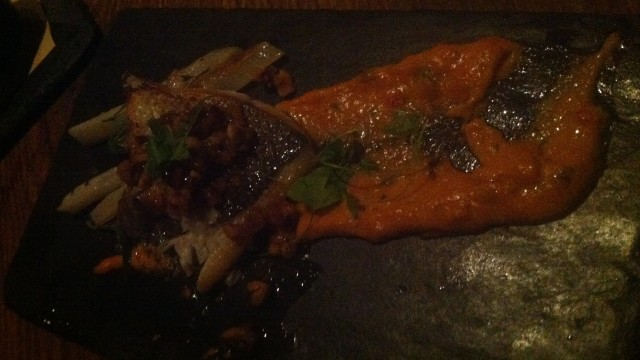 It does kind of look like the fish has hurled over the slate, but trust me that was sauce and it was right tasty