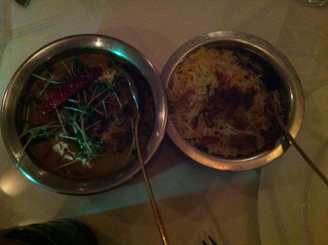 Curry from above with pilau rice. Or Pilaf. Or Peleau. Or Pulao. Or Palau. Get your story straight all Indian restaurants.