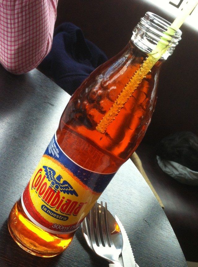Colombian flavoured drink. Similar to ubiquitous Aztec Cola. Which is like Irn Bru but sweeter. Take that Scotland.