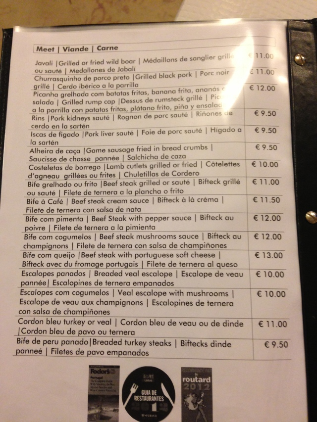 The multi-lingual menu. I didn't look past the first item on the menu.