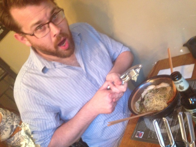 Crushing garlic into the Ramen. Climax of the meal?