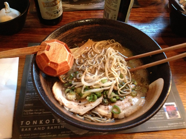 Tonkotsu's Tonkotsu ramen. It's a subtle device to get you to say the word tonkotsu over and over again so that it enters into your subconscious and you think about it in idle moments and when you slumber.
