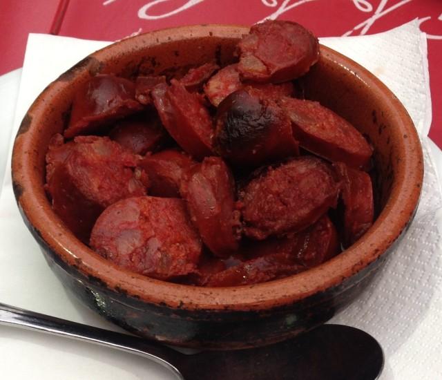 Flamed Chouriço in Wine.