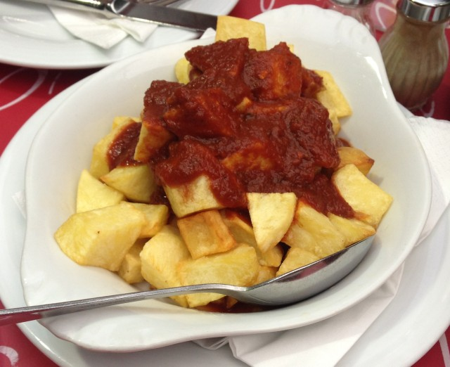Patatas Bravas. Brave little fellas. They didn't get chomped in vain.