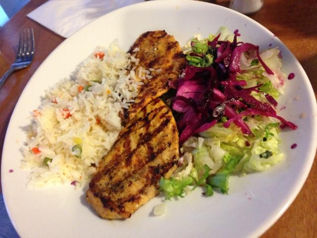 Chicken Izgara. The menu describes this as boneless chicken tights, which is a slur I endured frequently at school.