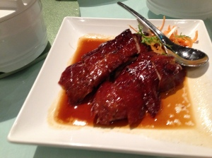 "I quote: ""Duck Cantonese style. The skin was supposed to be crispy – instead it was squishy and fatty. The (cold) duck itself had no flavour. The sauce was syrupy but again had no flavour."""