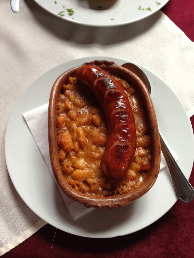 Sausage and beans. Tavce Gravce. Actually quite tasty.