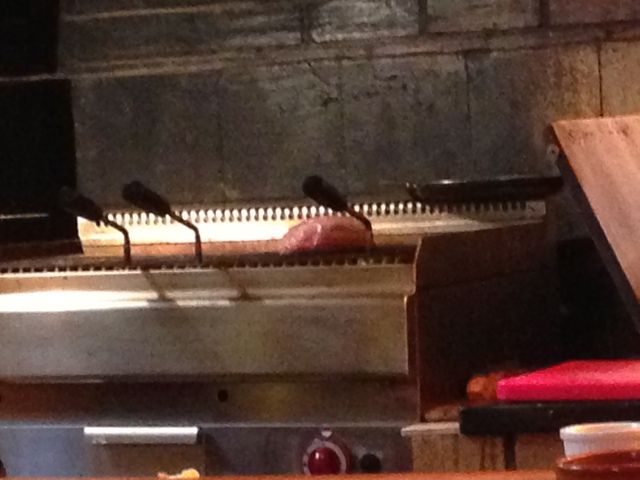 We get to watch the steak being prepared live!