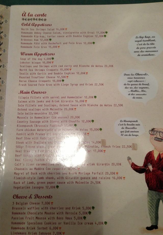 Le menu. Kindly supplied in Anglais.
