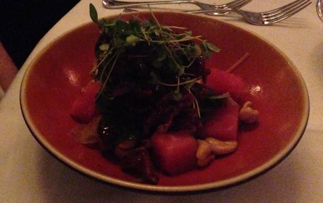 Roast duck salad. As vertical as salad gets.