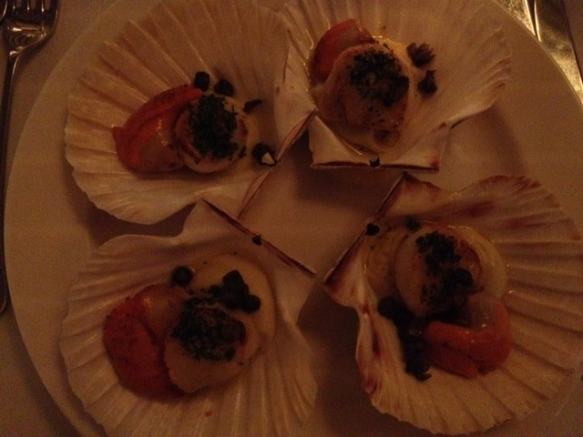 Scallops beautifully presented.