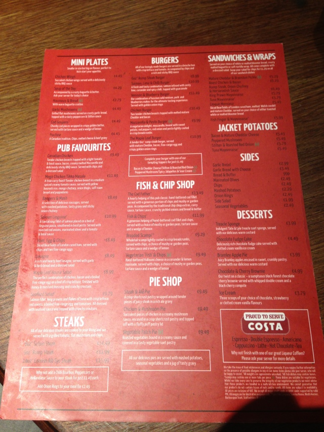Le menu. Can you spot anything not available in Kettering?