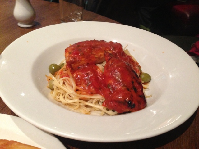 Salmon Chicken linguine. Edible with the addition of ketchup apparently.