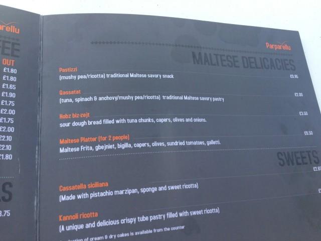Le menu.