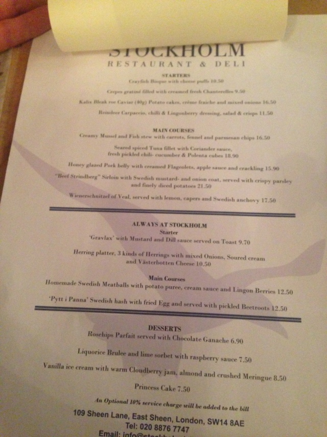 The menu, but most people selected from the seasonal Crayfish menu.