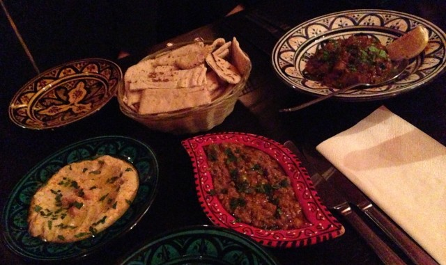 Hummus, Baba Ganoush and Chakchouka. Um bowm bowm. Chak. Chakchouka. Um bowm bowm. Oh yeah.
