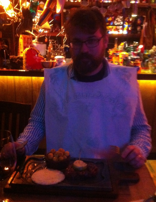 Me and my beloved Chateaubriand (R.I.P.). The staff asked me to wear a bib after watching me eat the bread.