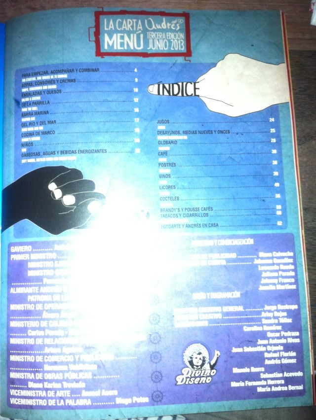 El Menu. Has an index. Massive.