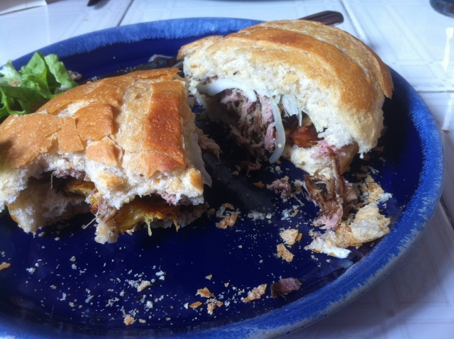 The Paisa, beautiful pulled pork sandwich. Little did I know it would be my last sandwich for weeks.