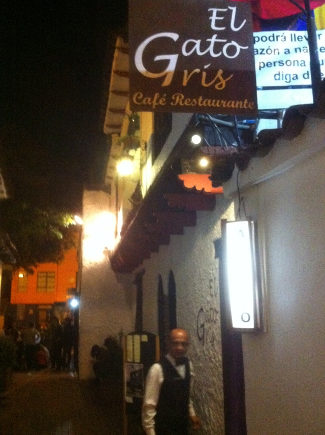 "Outside of the El Gato Gris. Spanish for ""the Grizzly Cake."""