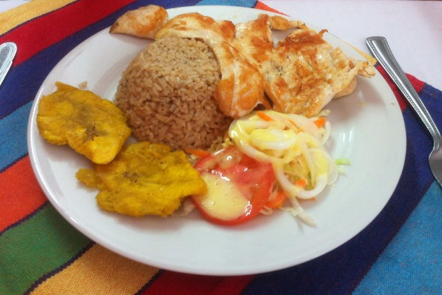 A typical Colombia meal - something for everyone, cheap as chips, but tastier.