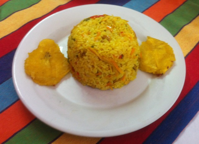 Jug-eared rice. Carribean flavoured, riddled with chicken.