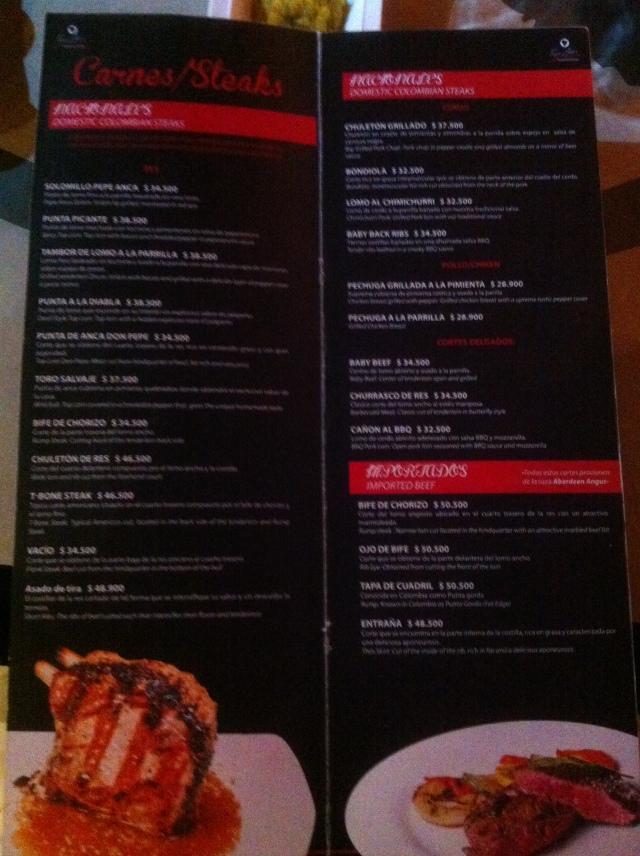 El menu.