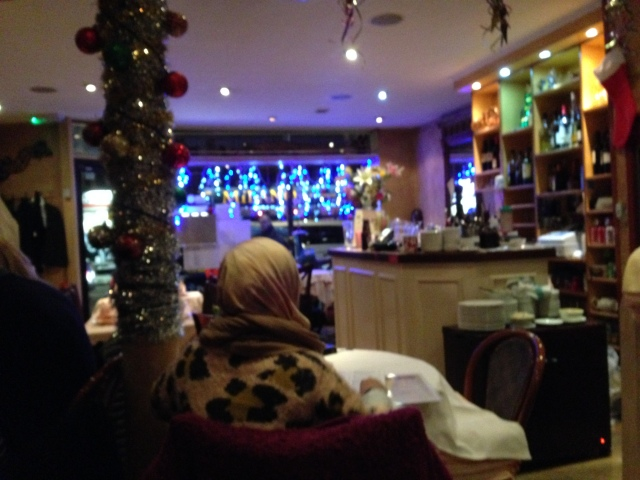 OK, this picture makes it look like  a woman waiting in a small airport bar, but it was in fact very cosy.