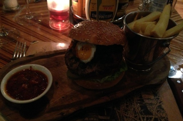 The wild boar/venison burger with a quails egg peering at you sinisterly.