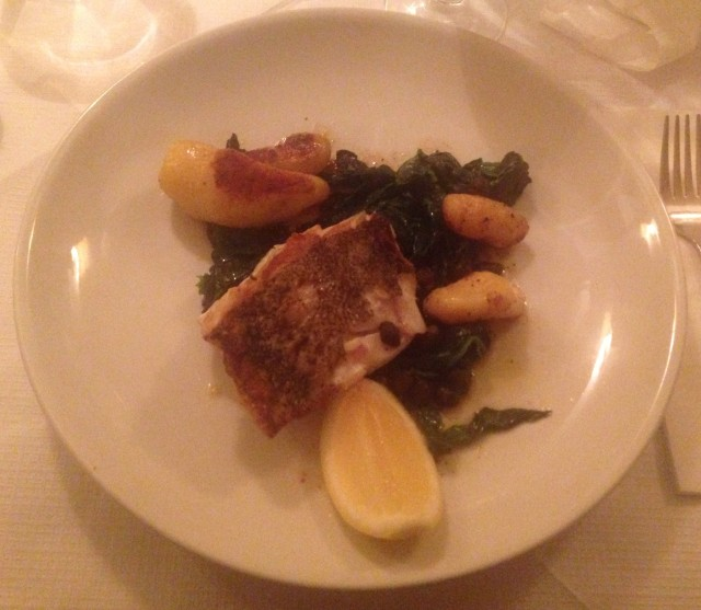 Excellent cod, accompanied by spinach served with capers - an excellent idea as the capers takes the metallic flavour of the spinach away.