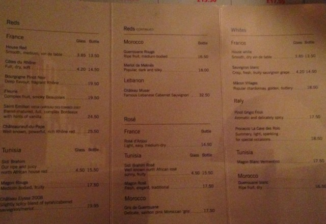 Wine menu with Tunisian wines on offer. The Sidi Brahim red performed admirably.