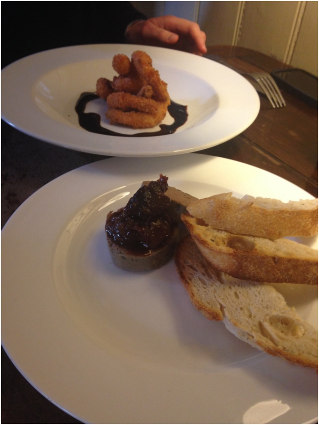 Coconut prawns and chicken liver pâté.  (They spotted that the starters were being shared and spontaneously brought extra toast, without charging for it. Brilliant.)