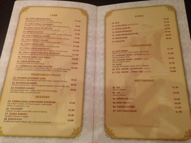 The menu. Part trois.