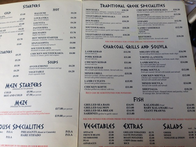 "Spot the difference between this ""Cypriot"" menu and any other Greek restaurant menu. Here's a clue: you can't."