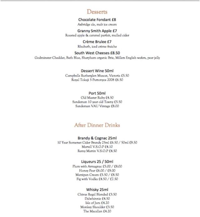 Le menu, part deux.