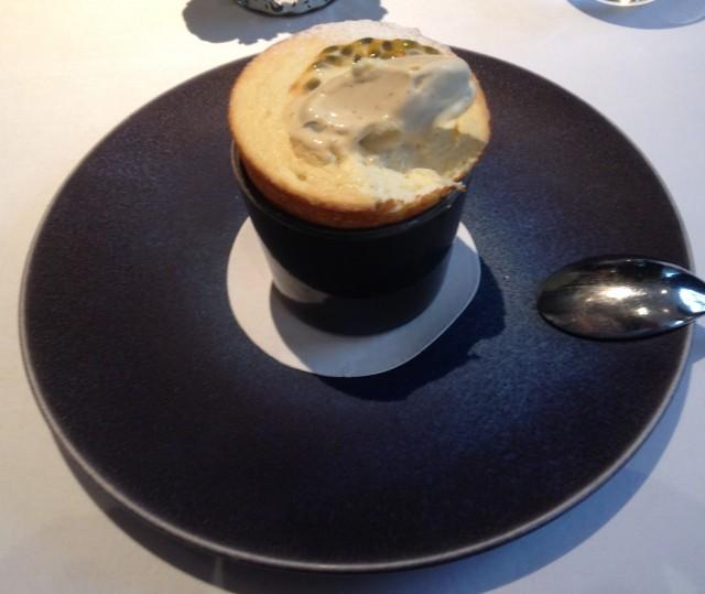 Dessert: The passion fruit soufflé.