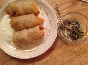 Stuffed cabbage leaves always look so modest, but they pack a lot of flavour and are very filling. Much like myself.
