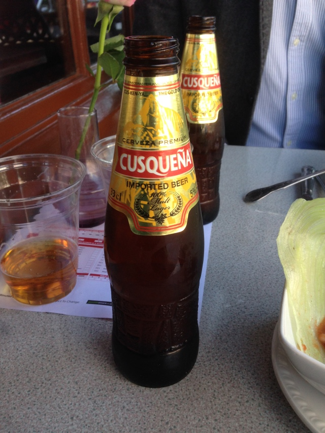 Cusqueña beer. From Peru. Not Ecuador. They couldn't get hold of some Pilsener?
