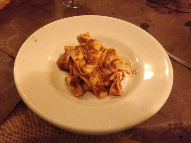 Pappardelle with a meat ragu. I want to say wild boar or rabbit or deer or something gamey. But It could have been something more parochial.