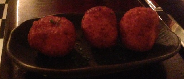 Cheesy croquetas. Totally excess to requirements. Like your mother.