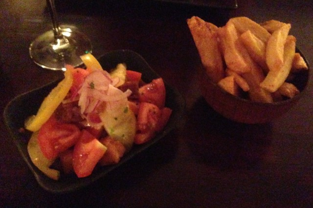 Chips and tomatoes. There's an 'e' in tomatoes? Not like potatos. Thanks spell check!