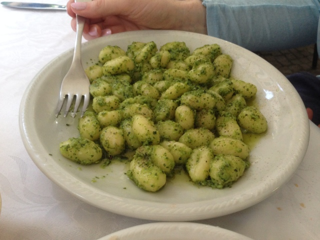 Gnocchi with pesto. Awesome. Not pictured: Trofie with pesto. Trofie is an underused pasta. My championing it should earn me an OBE or a Porsche.