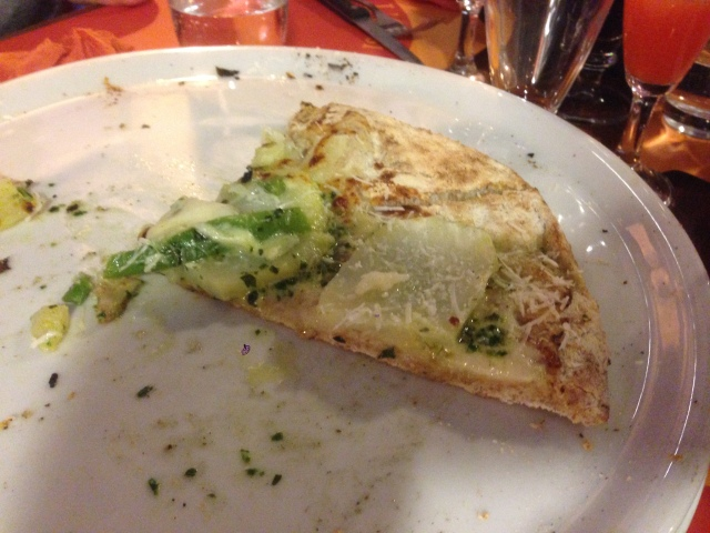 You may have guessed that I was slow to the punch in taking this photo. Pesto-potato pizza. Yummsy.