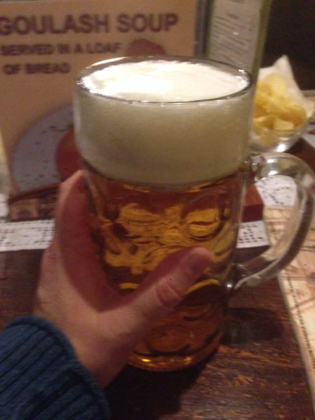 That is a jolly big beer. The head alone was quite a mouthful (with apologies to googling perverts).